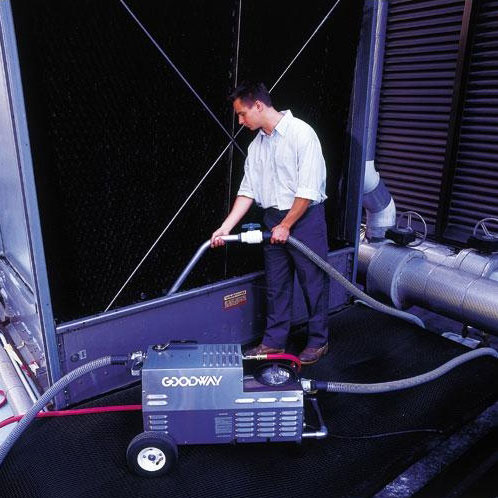 Callaway Industrial uses the Goodway CTV-1501 TowerVac® cooling tower cleaning vacuum to safely and easily remove slime, algae, mud, dirt and other contaminants from HVAC systems.